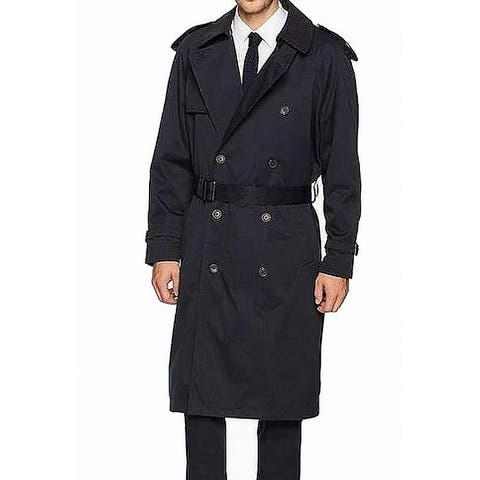 Hart Schaffner Marx Mens Trench Coat Black Size 38R Double Breasted