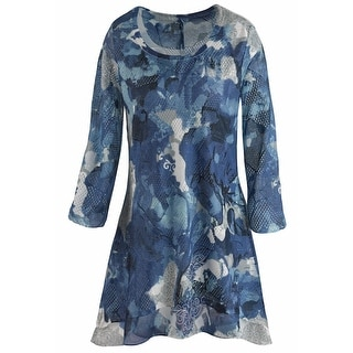 Women's Tunic Top - Blue Floral Printed 3/4 Sleeve Shirt