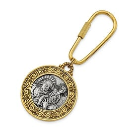 14k Gold IP & Silvertone St. Christopher Key Fob