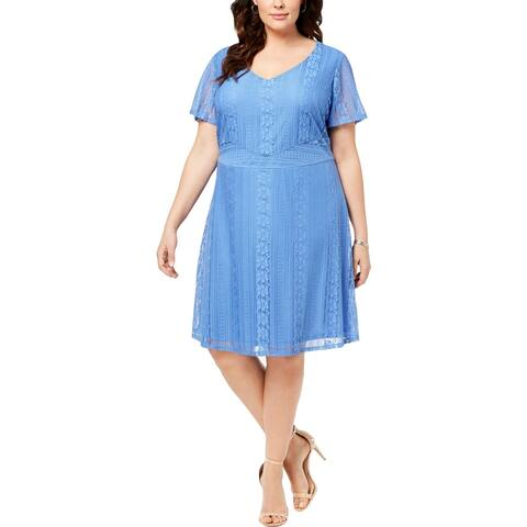 NY Collection Womens Plus Sundress Lace Fit & Flare