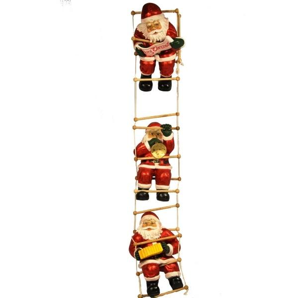 Christmas at Winterland WL-SANTA-80-3CLIMB 80 Inch 3 Santas Playing On The Ladder - MultiColor - N/A