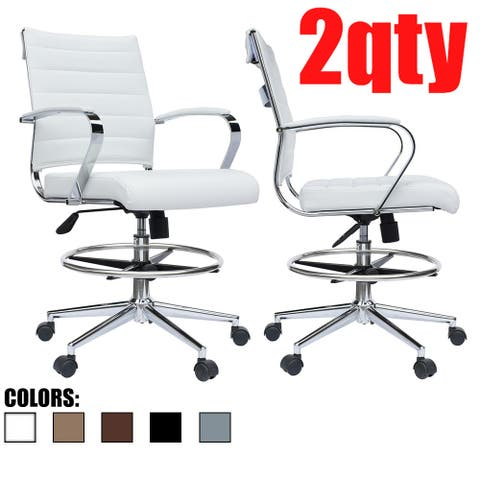 Set of 2 White Mid Open Padded Back Century Office Chair Wheels Ergonomic PU Leather Arm Rest Tilt Adjustable Height Swivel