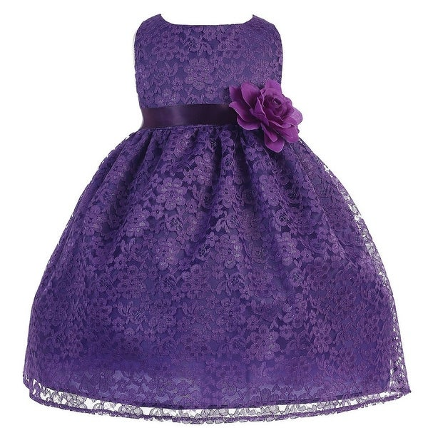 Baby Girls Purple Floral Lace T-Length Flower Girl Dress 6-24M