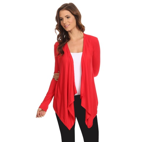 Women's Long Sleeve Cardigan Short Open Front Made in USA RED (Large)