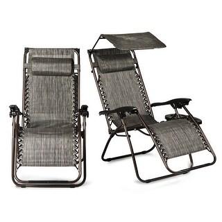 BELLEZE 2-Pack Recliner Slots Reclining Zero Gravity Chairs Canopy Shade w/ Headrest Pillows, Gray
