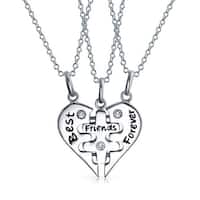 Bling Jewelry Best Friends Forever Puzzle Pendant Sterling Silver Necklace Set 16 Inches