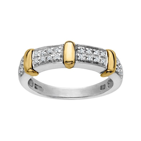 1/10 ct Diamond Band Ring in Sterling Silver and 14K Gold
