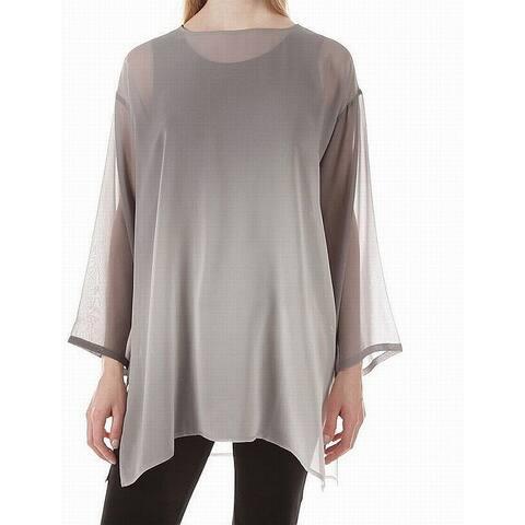 Eileen Fisher Womens Blouse Ash Gray Size Medium M Keyhole Silk