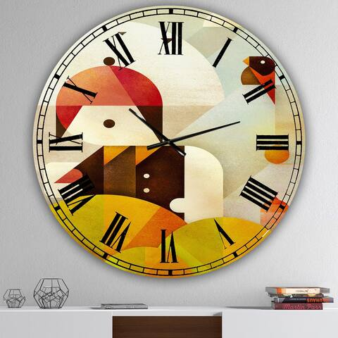 Designart 'Young Man With Red Bird' Mid-Century Wall Clock