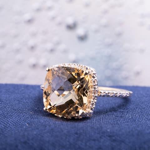 Miadora 10k Yellow Gold Citrine and 1/10ct TDW Diamond Halo Ring (H-I, I2-I3)