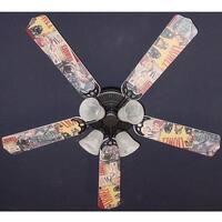 Nostalgic Lionel Trains Print Blades 52in Ceiling Fan Light Kit - Multi