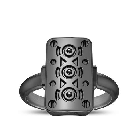 Simon Pagenaud Engine Block Ring with Black Diamond In Sterling Silver