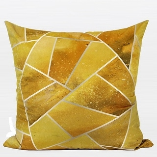 "G Home Collection Luxury Yellow Geometry Digital Printing Flannel Pillow 20""X20"""