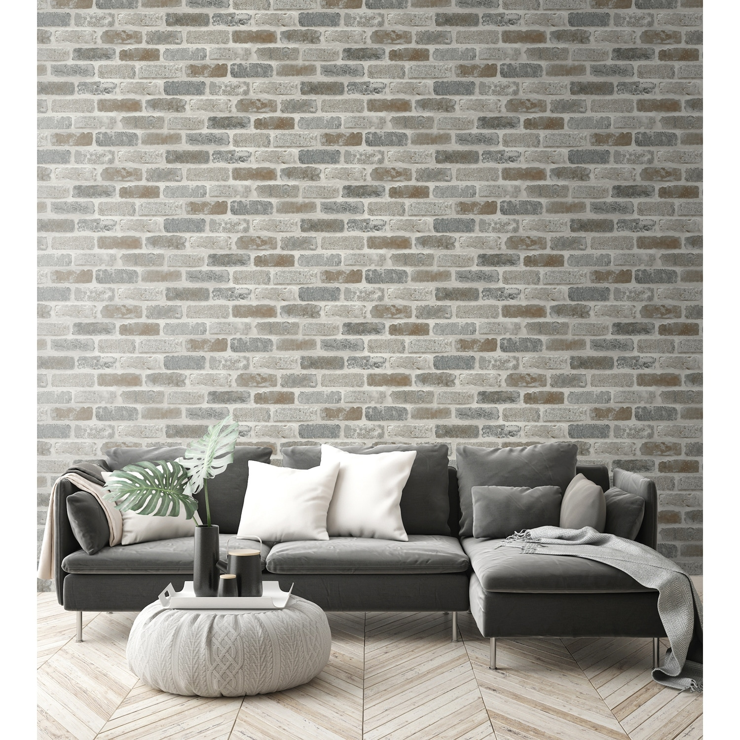 Shop Nextwall Washed Brick Peel And Stick Removable Wallpaper 20 5 In W X 18 Ft L Overstock 31053558