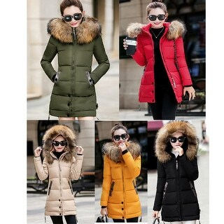 Women Ladies Slim Hooded Down Padded Long Winter Warm Parka Outwear Jacket Coat