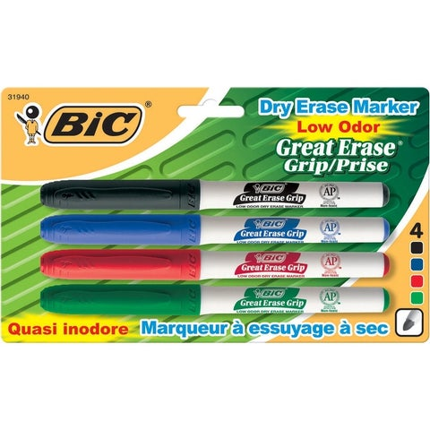BIC Great Erase Grip Dry Erase Marker, Fine Tip, Assorted Colors, Pack of 4