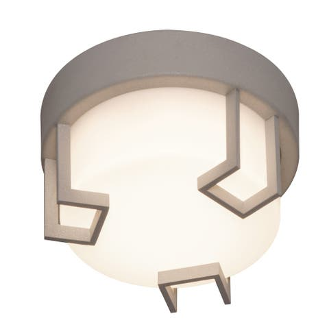 Beaumont 8-inch Textured Grey LED Outdoor Flush Mount, White Acrylic Shade