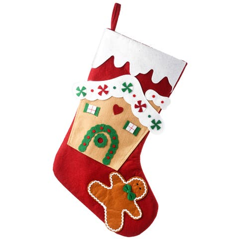 """20"""" Be Merry Collection Gingerbread House Stocking - 20 in"""