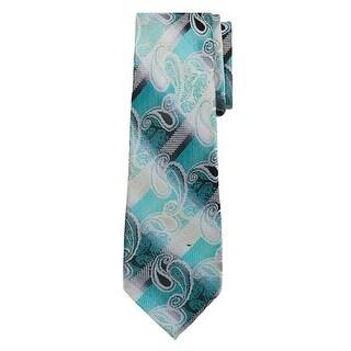 Marquis Men's Green, White Paisley 3 1/4 Tie & Hanky Set TH100-001