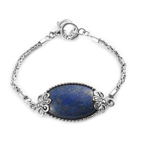 Shop LC 925 Sterling Silver Lapis Lazuli Bracelet Size 9 Inch Ct 35.5 - Bracelet 9''