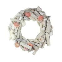 "12.5"" Nautical Driftwood and Seashell Artificial Summer Wreath - Brown"