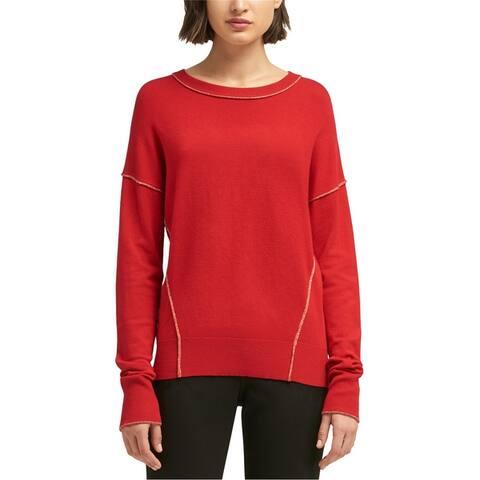 Dkny Womens Metallic Seam Pullover Sweater
