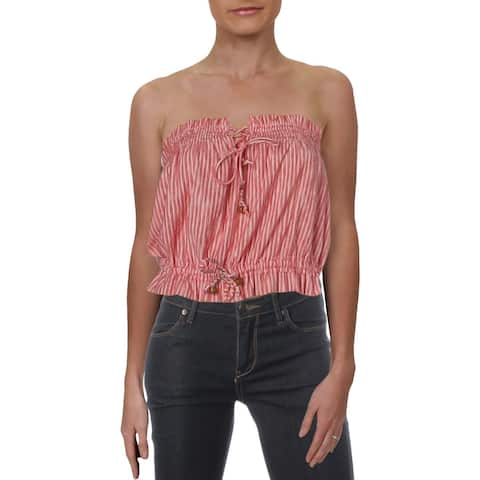Free People Womens Bandeau Top Striped Smoked - L