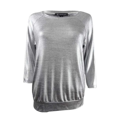 INC International Concepts Women's 3/4-Sleeve Foil Top (S, Silver) - Silver - S
