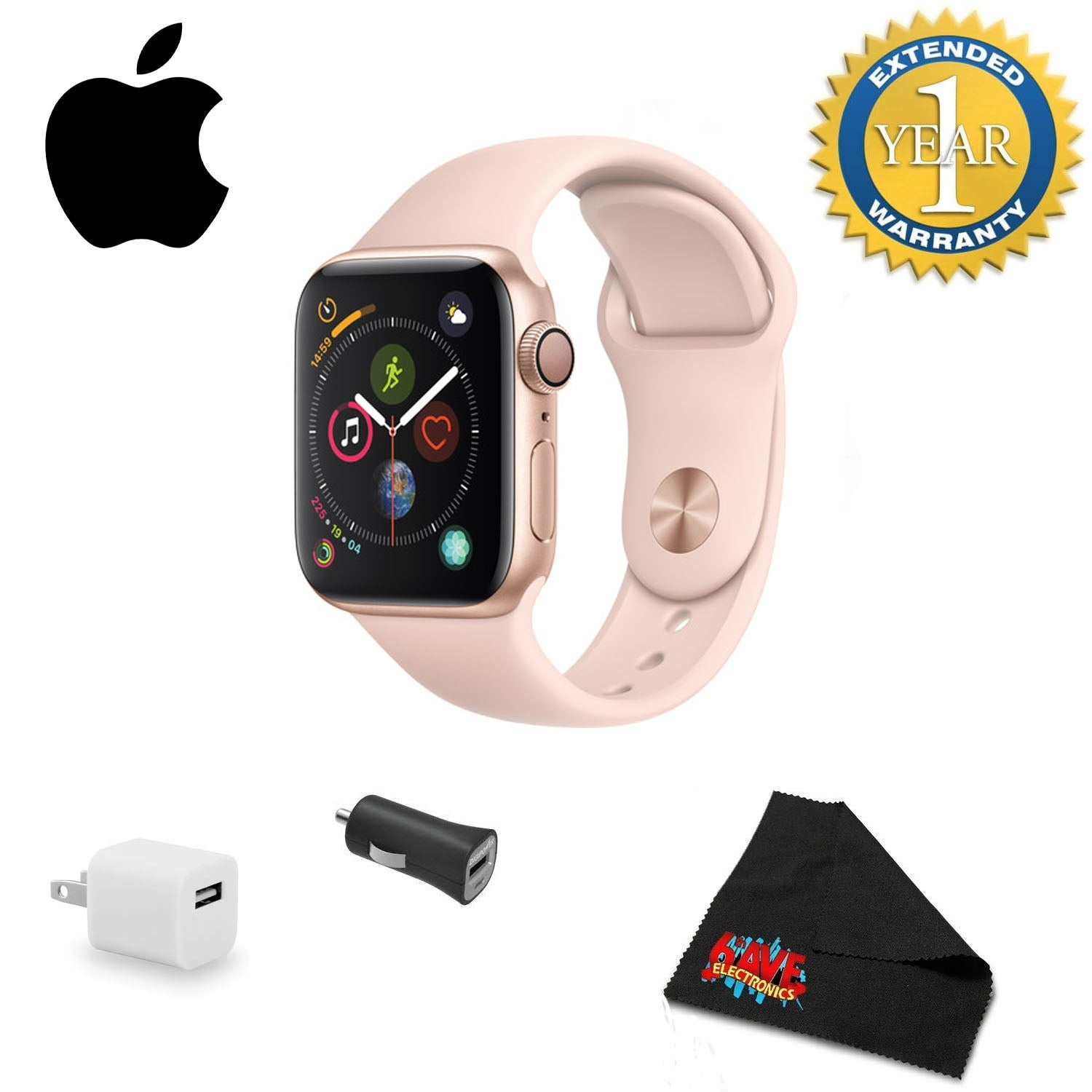 Apple Watch Series 4 GPS Only, 40mm Bundle w/ Extended Warranty gold aluminum - pink sand sport band