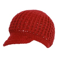 Womens Fashion Knitted Cadet Beanie - Red