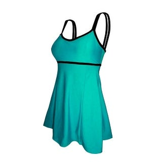 Double Strap Lingerie Swimdress in Solid Jade with Black Trim