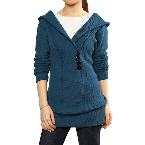 Woman Shawl Collar Buttons Decor Hooded Tunic Sweater