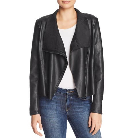 French Connection Womens Armide Moto Coat Faux-Leather Lightweight - Black