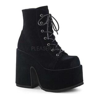 Demonia Women's Camel 203 Ankle Boot Black Velvet