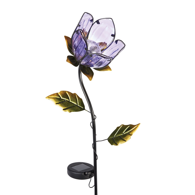 Shop Lighted Purple Flower Glass Metal Garden Stake Solar