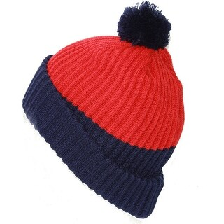 New York Rangers NHL Thick Pom Ribbed Beanie, Red Blue - Red/blue