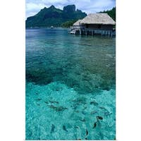 Bungalows over the waters of Bora Bora Lagoon - Multi-color