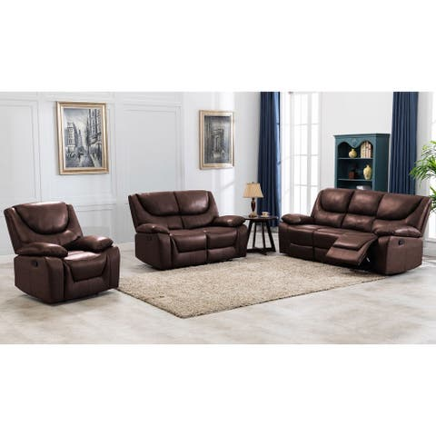 Contemporary Top Grain Leather Upholstered Reclining Living Room Set