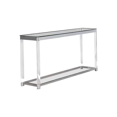 Acrylic Frame Sofa Table with Glass Top and Bottom Shelf, Clear and Chrome