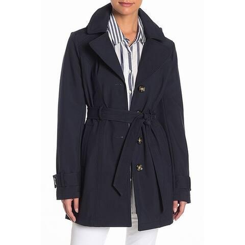 Sebby Navy Blue Womens Size Small S Softshell Hooded Trench Coat