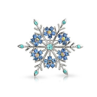 Bling Jewelry Crystal Christmas Flower Snowflake Brooch Pin Rhodium Plated