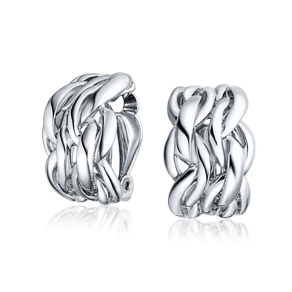 Twisted Cable Chain Weave Wide Half Hoop Clip On Earring For Women Non Pierced Ears Silver Plated Brass