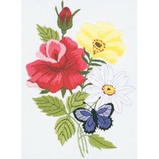 """5""""X7"""" Stitched In Floss - Butterfly & Floral Embroidery Kit"""