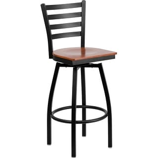 "Dyersburg 30"" High Black Ladder Back Swivel Metal Barstool, Cherry Wood Seat"