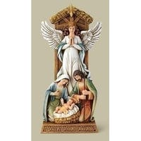 "11"" Joseph Studio Angel and Holy Family Under Star Religious Table Top Figure - WHITE"