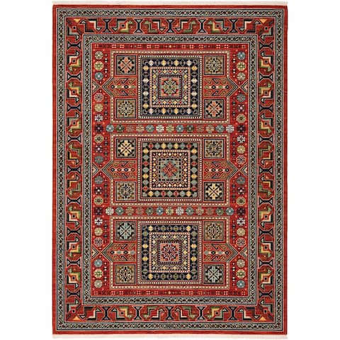 Leander Nomadic Medallion Fringed Wool Blend Area Rug