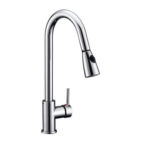 Design House 547869 Pull-Down Spray Gooseneck Kitchen Faucet - Polished Chrome