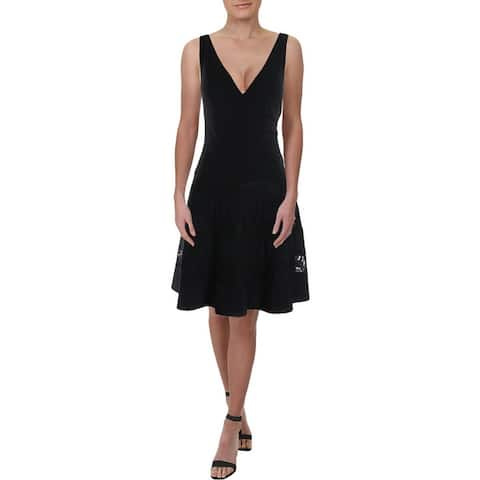 Lauren Ralph Lauren Womens Landette Scuba Dress Lace-Inset Surplice - Black