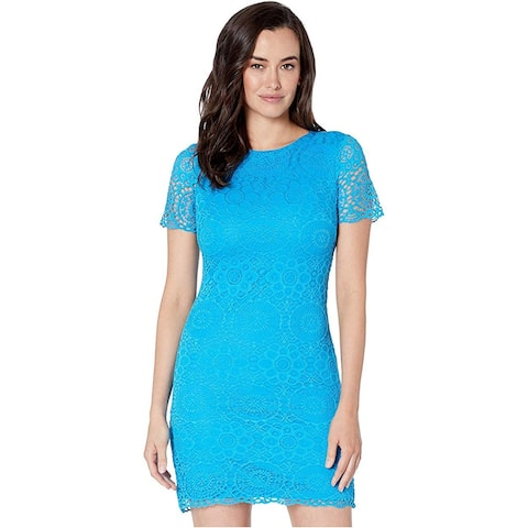 Laundry by Shelli Segal Short Sleeve Lace Dress, Turquoise,10