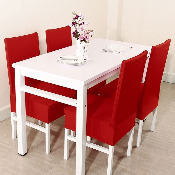 Unique Bargains Red Spandex Stretch Washable Dining Chair Cover